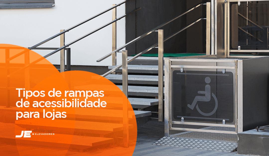 rampa de acessibilidade - na imagem aparece uma escada ao lado esquerdo e no lado direito, uma plataforma de acessibilidade representando as rampas de acessibilidade em lojas.